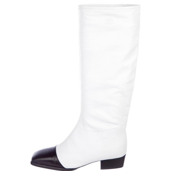 White And Black Cap Toe Runway Boots